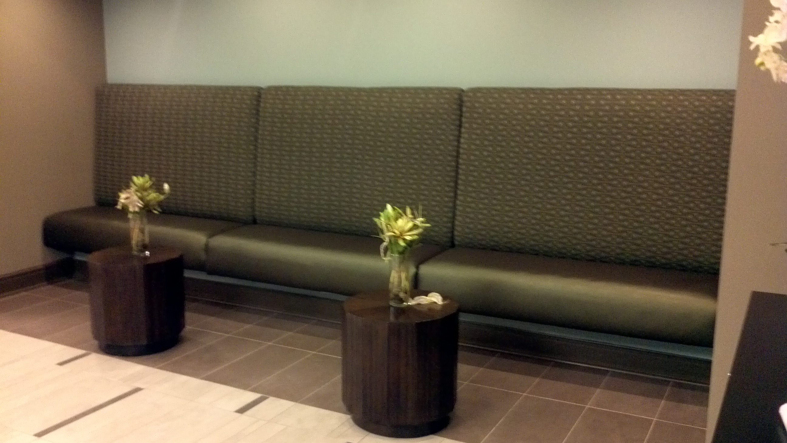 this reception area bench may fit the design scheme but it lacks