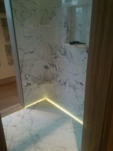 LEDs creating a dramatic effect in this shower floor